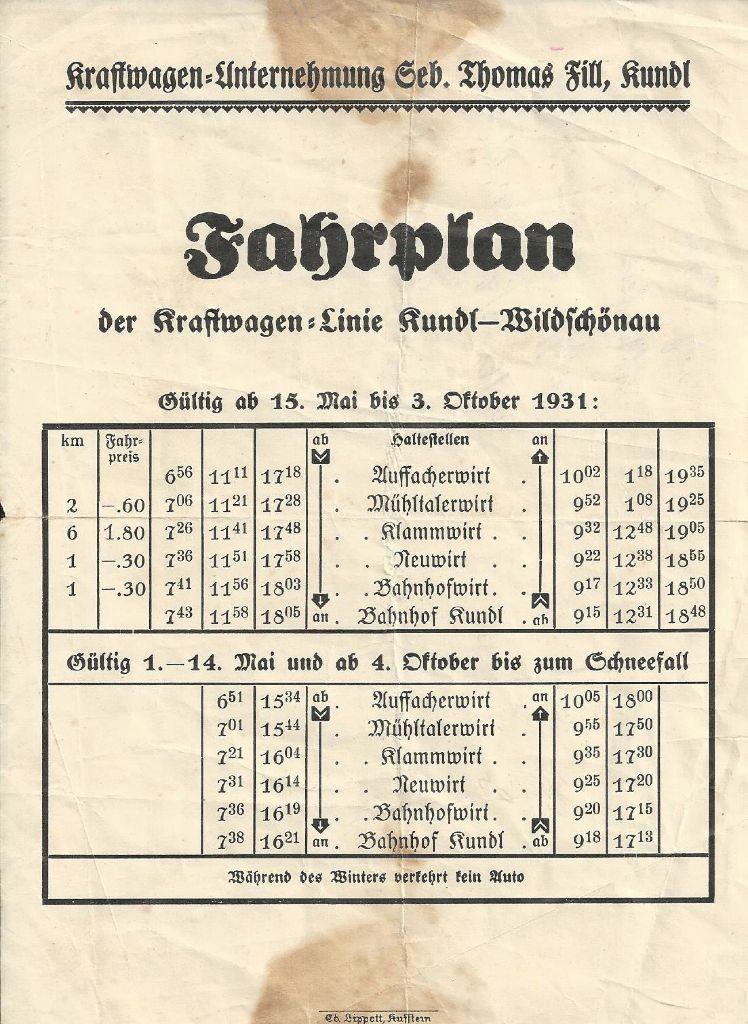 Fahrplan Kundler Klamm