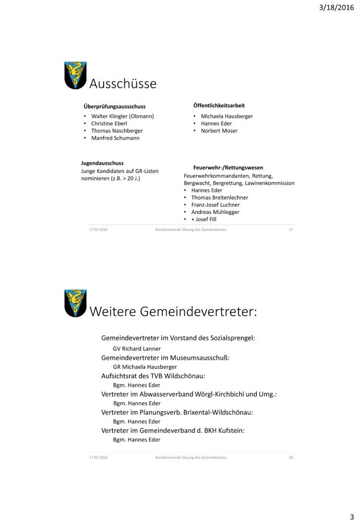 Konstituierenden Sitzung des neugewŠhlten Gemeinderates Donnerst