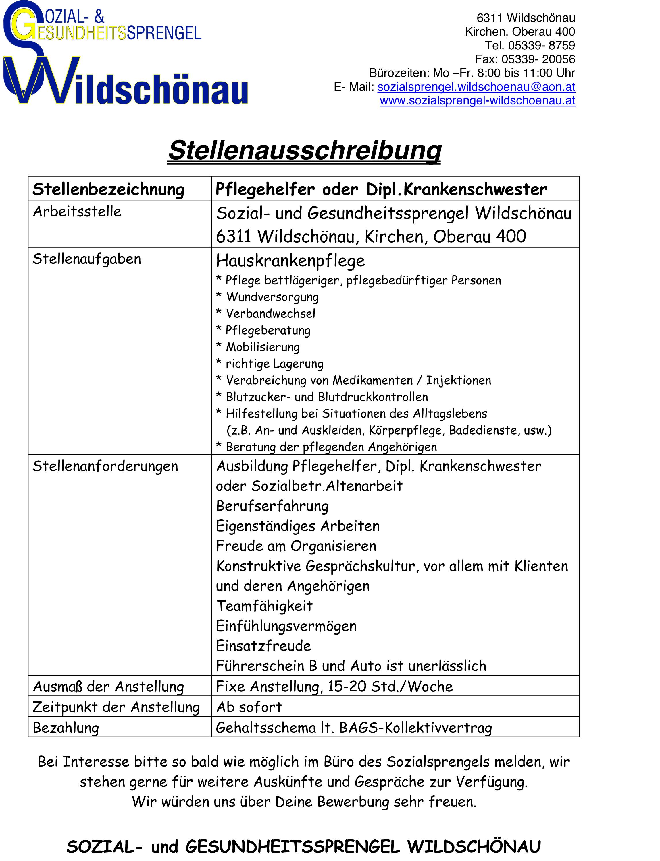 Stellenausschreibung Hauskrankenpflege Jänner 2014